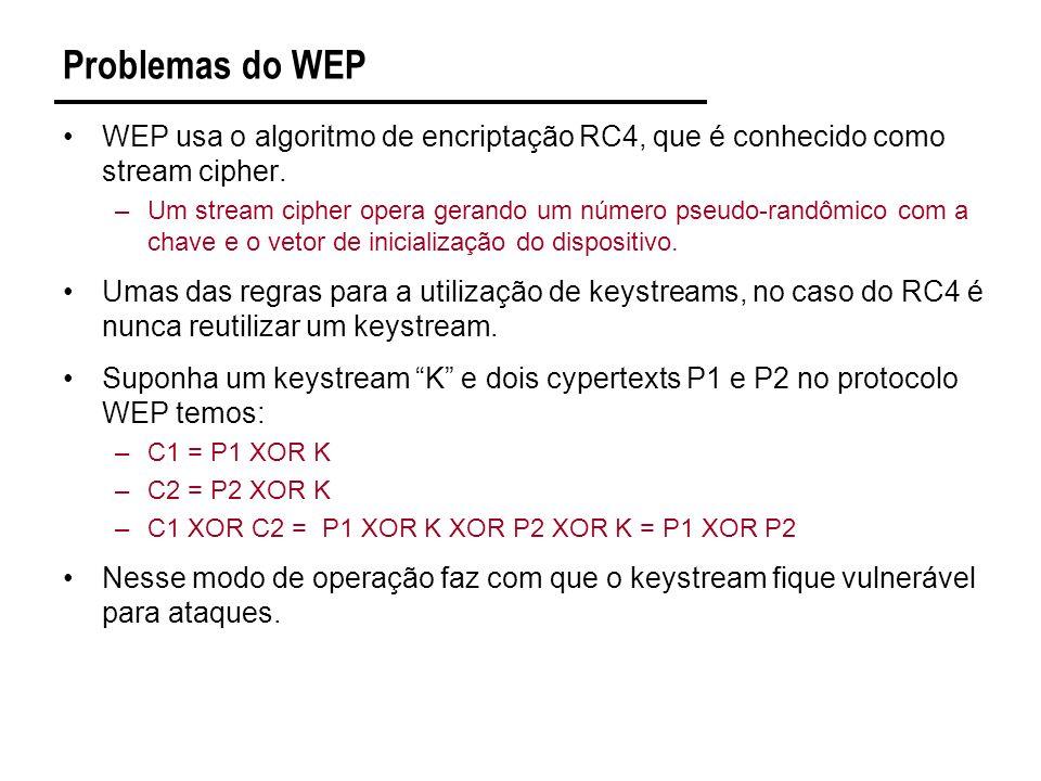 Problemas do WEP WEP usa o algoritmo de encriptação RC4, que é conhecido como stream cipher.