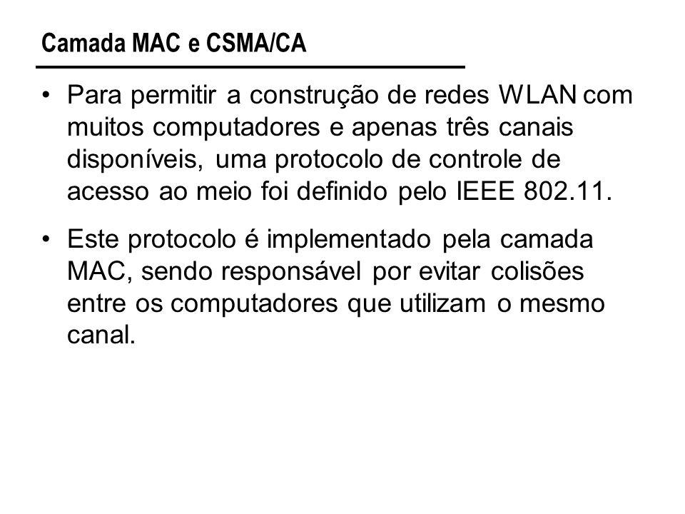 Camada MAC e CSMA/CA Para permitir a construção de redes WLAN com muitos computadores e apenas três canais disponíveis, uma protocolo de controle de acesso ao meio foi definido pelo IEEE 802.11.