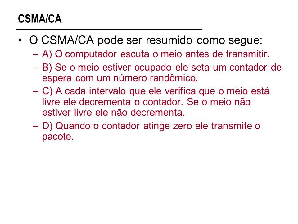CSMA/CA O CSMA/CA pode ser resumido como segue: –A) O computador escuta o meio antes de transmitir.