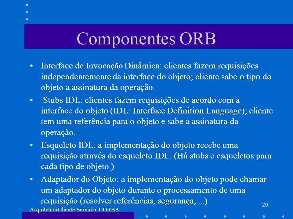 Arquitetura Cliente-Servidor: CORBA 20 Componentes ORB Interface de Invocação Dinâmica: clientes fazem requisições independentemente da interface do o