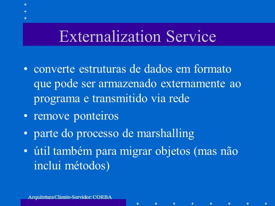 Arquitetura Cliente-Servidor: CORBA Externalization Service converte estruturas de dados em formato que pode ser armazenado externamente ao programa e