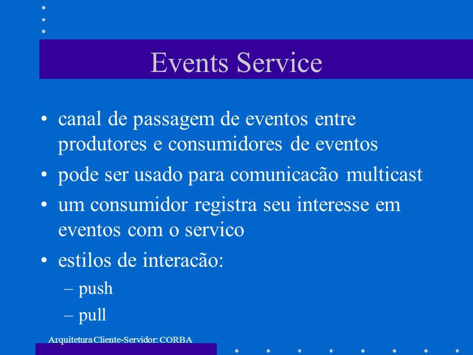 Arquitetura Cliente-Servidor: CORBA Events Service canal de passagem de eventos entre produtores e consumidores de eventos pode ser usado para comunic