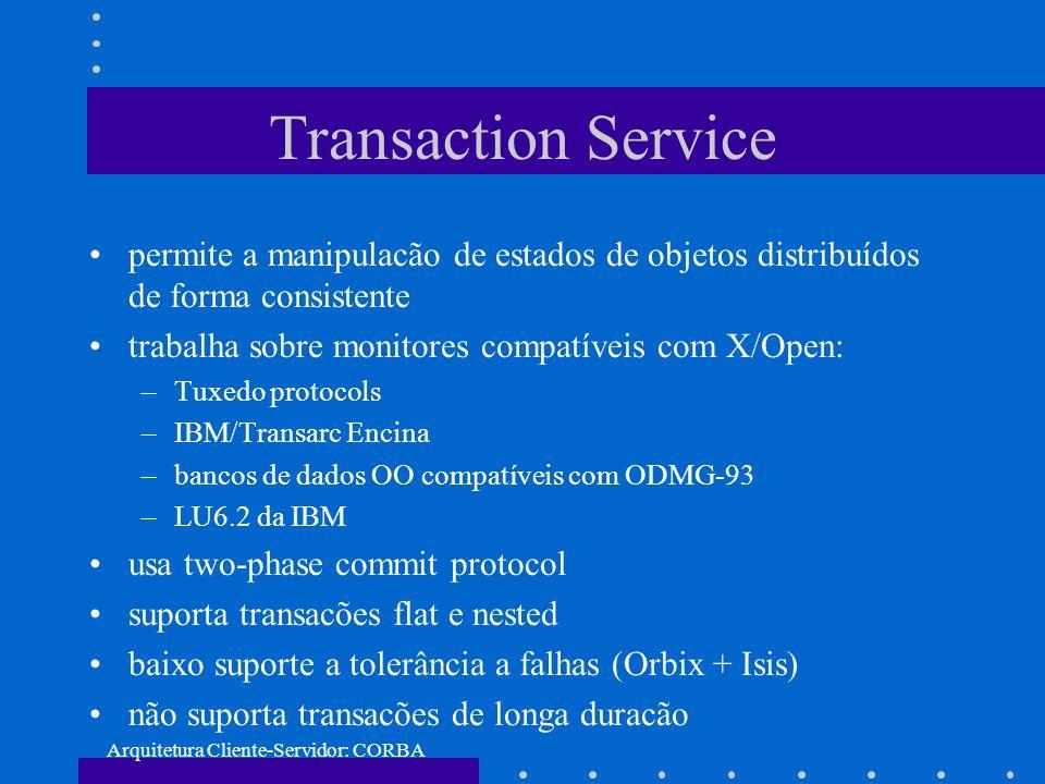 Arquitetura Cliente-Servidor: CORBA Transaction Service permite a manipulacão de estados de objetos distribuídos de forma consistente trabalha sobre m