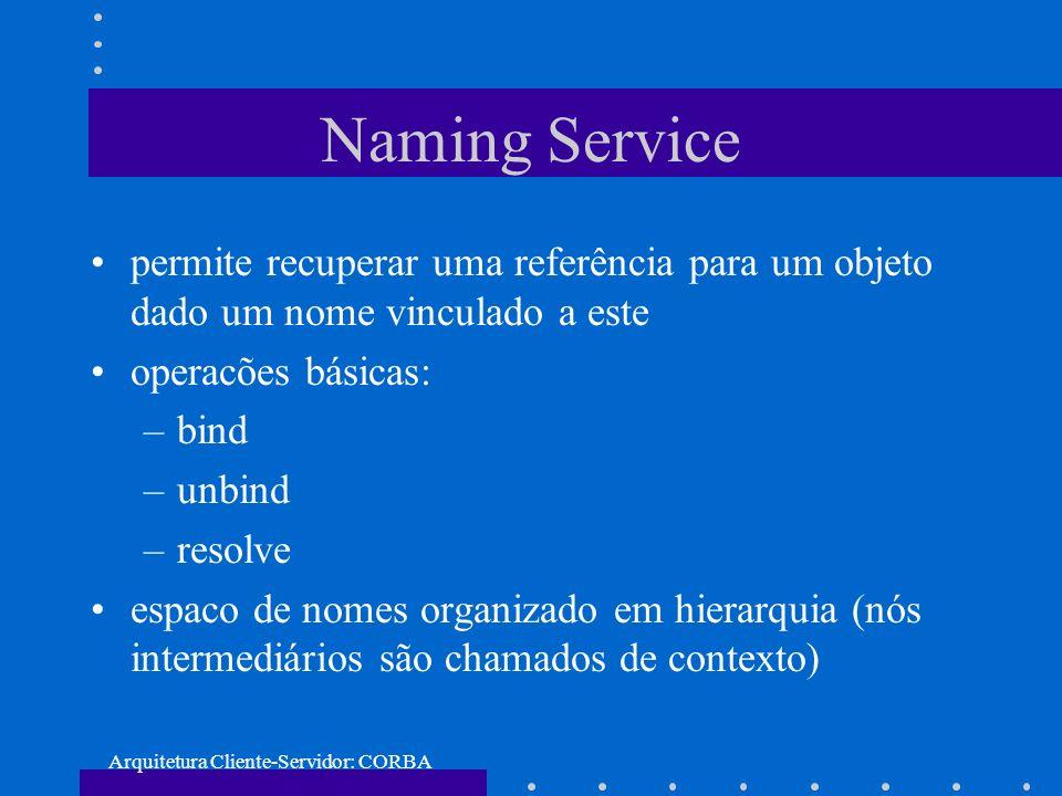 Arquitetura Cliente-Servidor: CORBA Naming Service permite recuperar uma referência para um objeto dado um nome vinculado a este operacões básicas: –b