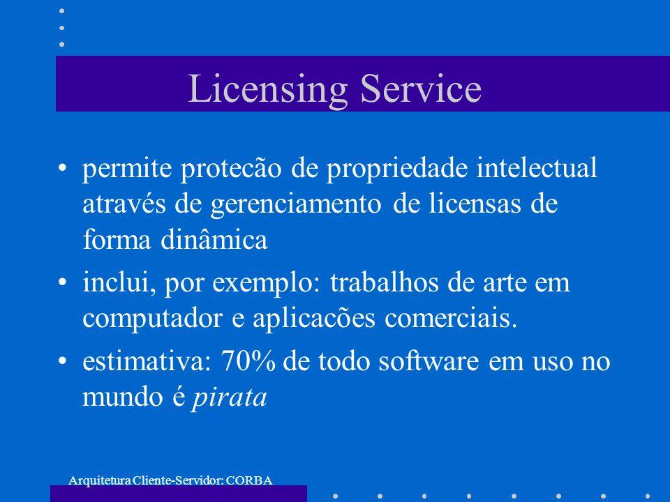 Arquitetura Cliente-Servidor: CORBA Licensing Service permite protecão de propriedade intelectual através de gerenciamento de licensas de forma dinâmi
