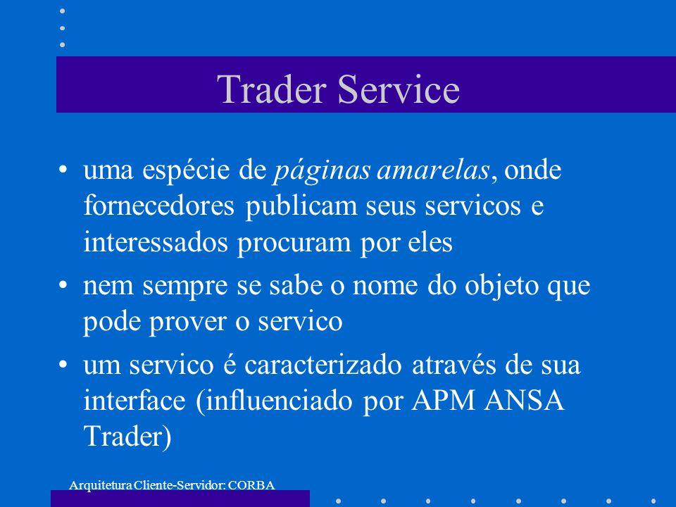 Arquitetura Cliente-Servidor: CORBA Trader Service uma espécie de páginas amarelas, onde fornecedores publicam seus servicos e interessados procuram p