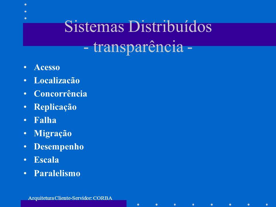 Arquitetura Cliente-Servidor: CORBA Aplicacão - exemplo compilação do arquivo IDL: idl Hello.idl Arquivos gerados: Hello.h Hello.cpp Hello_skel.h Hello_skel.cpp
