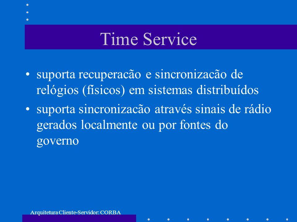 Arquitetura Cliente-Servidor: CORBA Time Service suporta recuperacão e sincronizacão de relógios (físicos) em sistemas distribuídos suporta sincroniza
