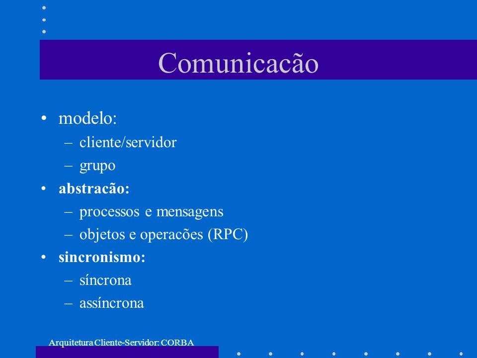 Arquitetura Cliente-Servidor: CORBA Comunicacão modelo: –cliente/servidor –grupo abstracão: –processos e mensagens –objetos e operacões (RPC) sincroni