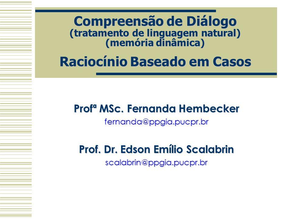 Compreensão de Diálogo (tratamento de linguagem natural) (memória dinâmica) Raciocínio Baseado em Casos Profª MSc. Fernanda Hembecker fernanda@ppgia.p