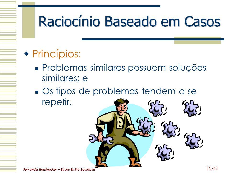 Fernanda Hembecker – Edson Emílio Scalabrin 15/43 Raciocínio Baseado em Casos Princípios: Problemas similares possuem soluções similares; e Os tipos d