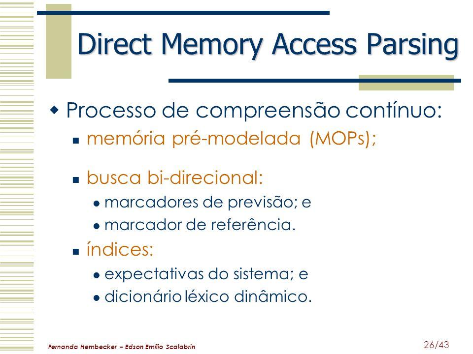 Fernanda Hembecker – Edson Emílio Scalabrin 26/43 Direct Memory Access Parsing Processo de compreensão contínuo: memória pré-modelada (MOPs); busca bi