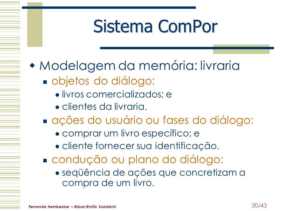 Fernanda Hembecker – Edson Emílio Scalabrin 30/43 Sistema ComPor Modelagem da memória: livraria objetos do diálogo: livros comercializados; e clientes