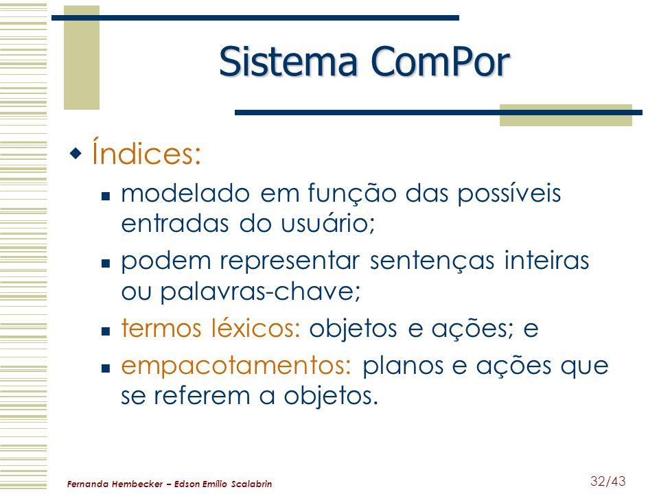 Fernanda Hembecker – Edson Emílio Scalabrin 32/43 Sistema ComPor Índices: modelado em função das possíveis entradas do usuário; podem representar sent