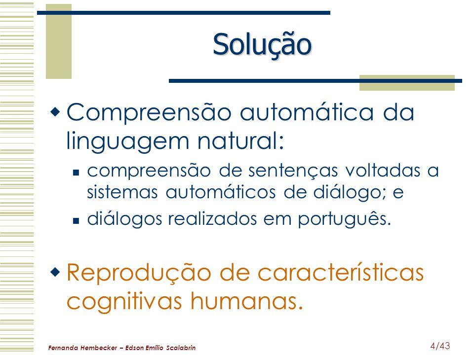 Fernanda Hembecker – Edson Emílio Scalabrin 4/43 Solução Compreensão automática da linguagem natural: compreensão de sentenças voltadas a sistemas aut