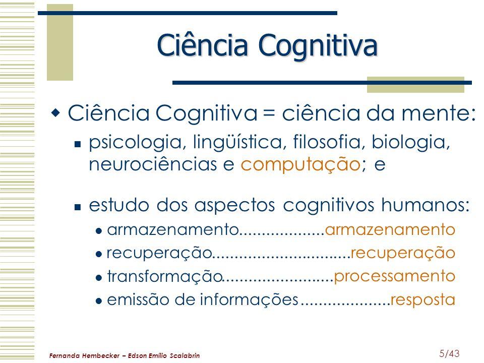 Fernanda Hembecker – Edson Emílio Scalabrin 5/43 Ciência Cognitiva Ciência Cognitiva = ciência da mente: psicologia, lingüística, filosofia, biologia,