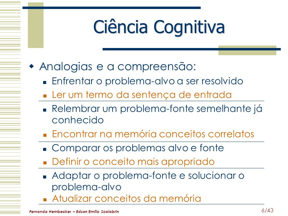 Fernanda Hembecker – Edson Emílio Scalabrin 6/43 Ciência Cognitiva Analogias e a compreensão: Enfrentar o problema-alvo a ser resolvido Relembrar um p