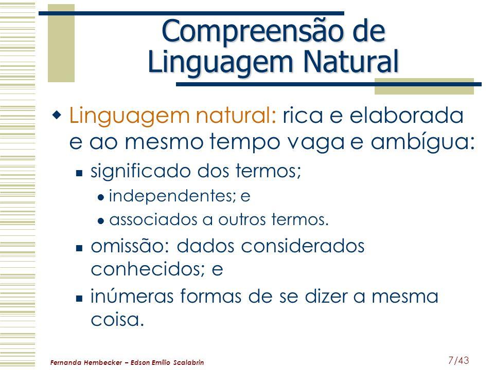 Fernanda Hembecker – Edson Emílio Scalabrin 7/43 Compreensão de Linguagem Natural Linguagem natural: rica e elaborada e ao mesmo tempo vaga e ambígua: