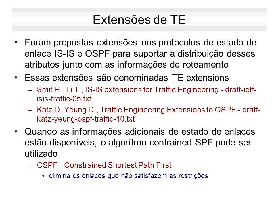 Extensões de TE Foram propostas extensões nos protocolos de estado de enlace IS-IS e OSPF para suportar a distribuição desses atributos junto com as i