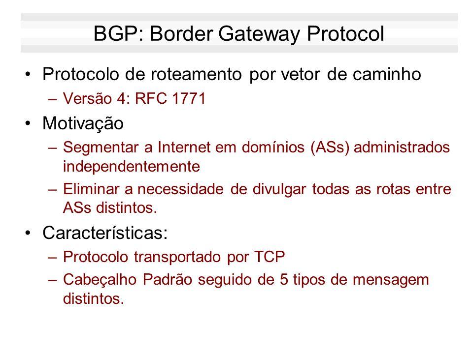 BGP: Border Gateway Protocol Protocolo de roteamento por vetor de caminho –Versão 4: RFC 1771 Motivação –Segmentar a Internet em domínios (ASs) admini