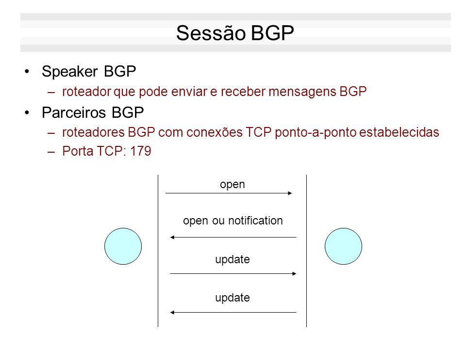Sessão BGP Speaker BGP –roteador que pode enviar e receber mensagens BGP Parceiros BGP –roteadores BGP com conexões TCP ponto-a-ponto estabelecidas –P