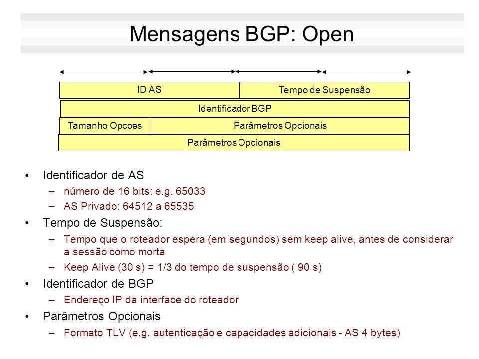 Mensagens BGP: Open Identificador de AS –número de 16 bits: e.g. 65033 –AS Privado: 64512 a 65535 Tempo de Suspensão: –Tempo que o roteador espera (em