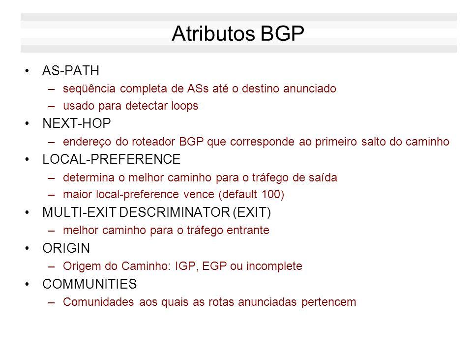 Atributos BGP AS-PATH –seqüência completa de ASs até o destino anunciado –usado para detectar loops NEXT-HOP –endereço do roteador BGP que corresponde