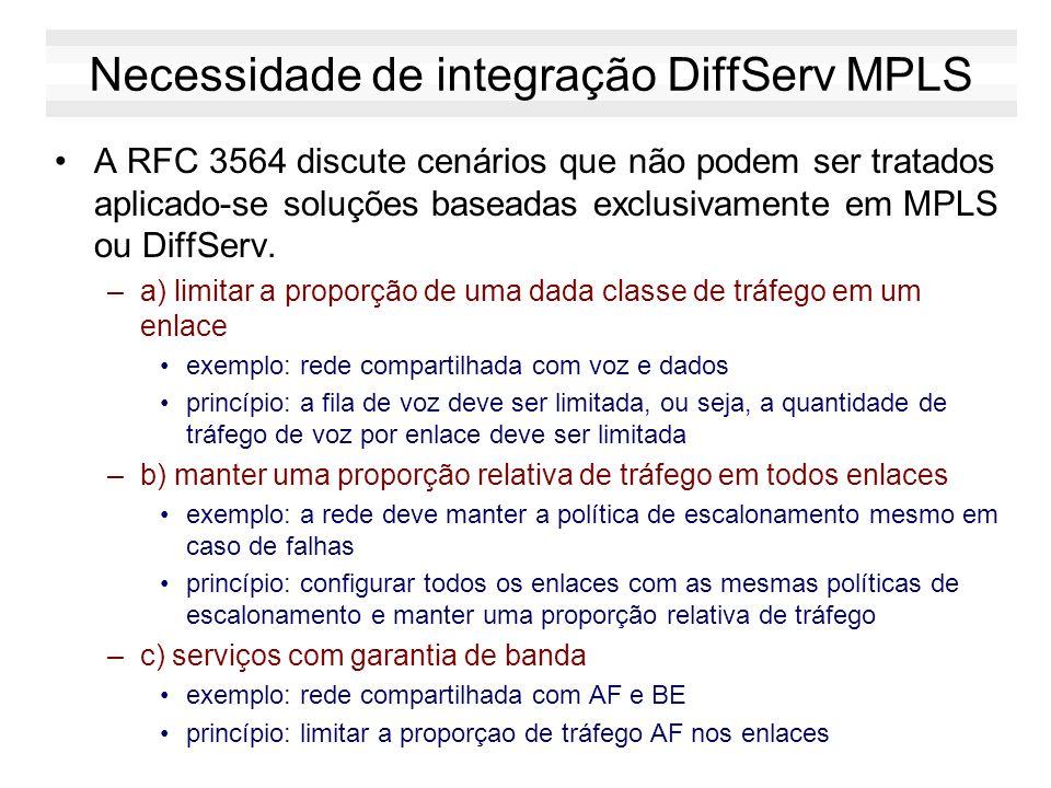 Necessidade de integração DiffServ MPLS A RFC 3564 discute cenários que não podem ser tratados aplicado-se soluções baseadas exclusivamente em MPLS ou