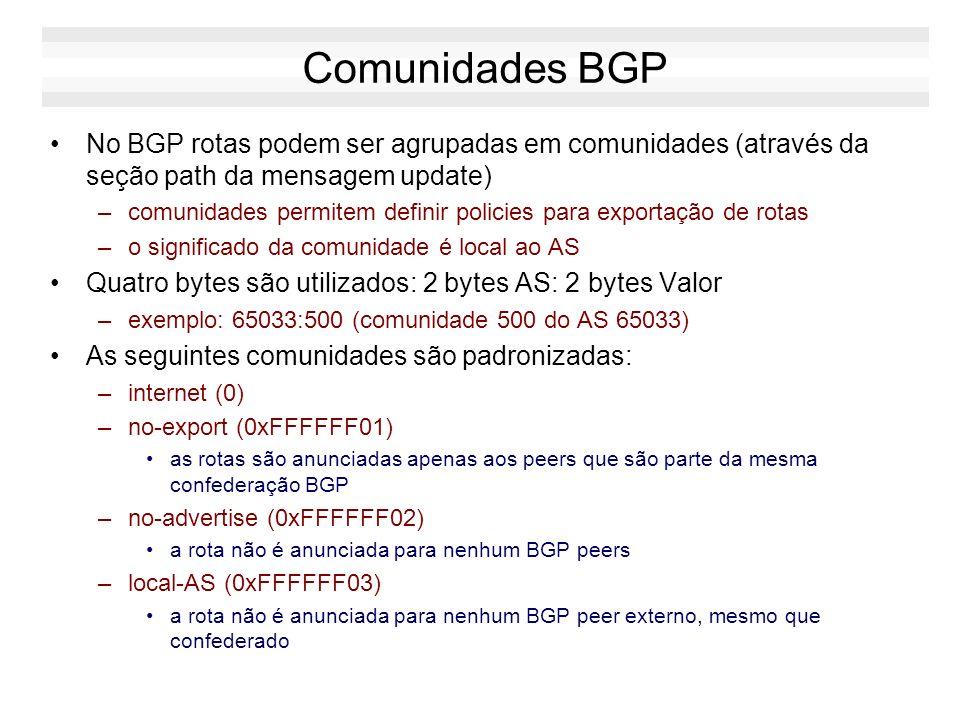 Comunidades BGP No BGP rotas podem ser agrupadas em comunidades (através da seção path da mensagem update) –comunidades permitem definir policies para