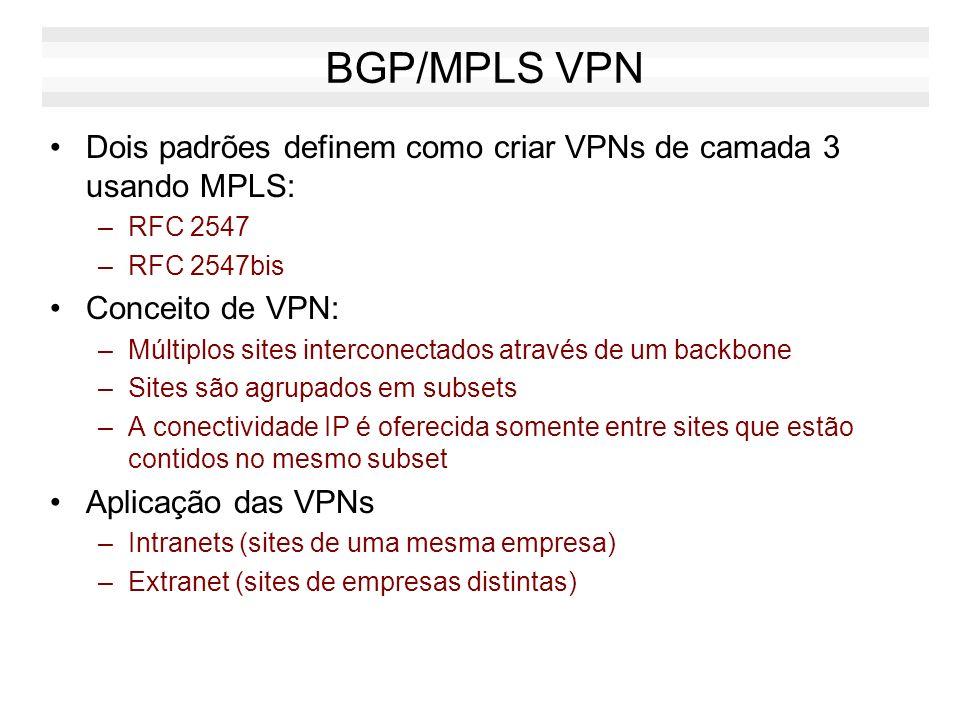 BGP/MPLS VPN Dois padrões definem como criar VPNs de camada 3 usando MPLS: –RFC 2547 –RFC 2547bis Conceito de VPN: –Múltiplos sites interconectados at