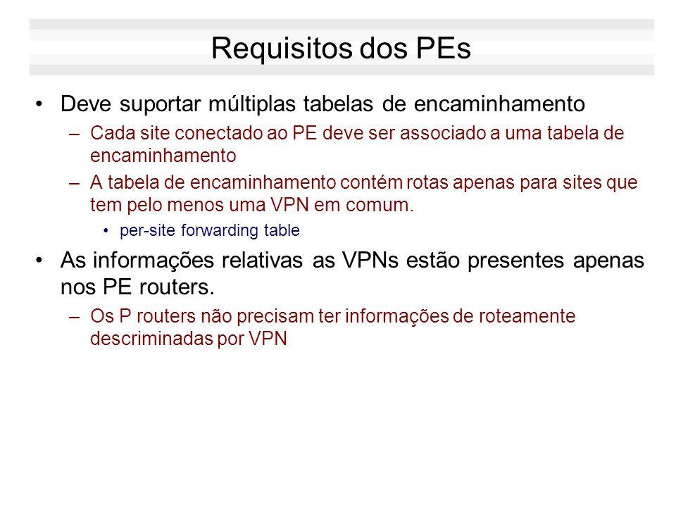 Requisitos dos PEs Deve suportar múltiplas tabelas de encaminhamento –Cada site conectado ao PE deve ser associado a uma tabela de encaminhamento –A t