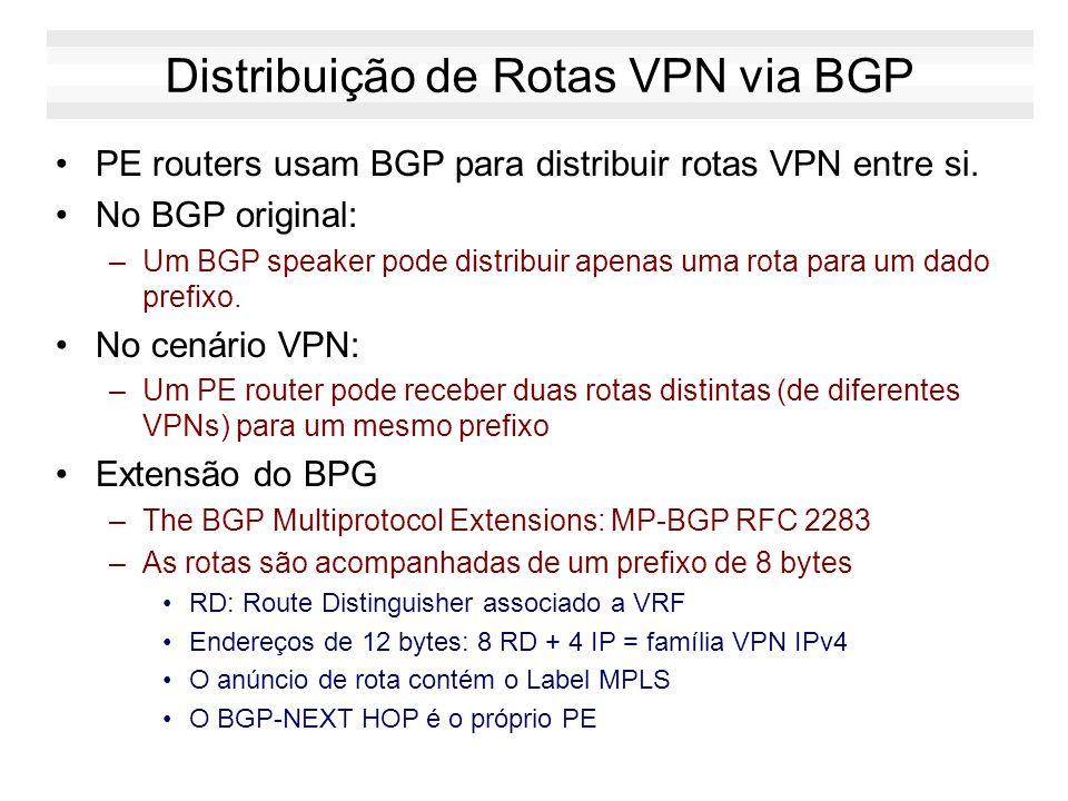 Distribuição de Rotas VPN via BGP PE routers usam BGP para distribuir rotas VPN entre si. No BGP original: –Um BGP speaker pode distribuir apenas uma