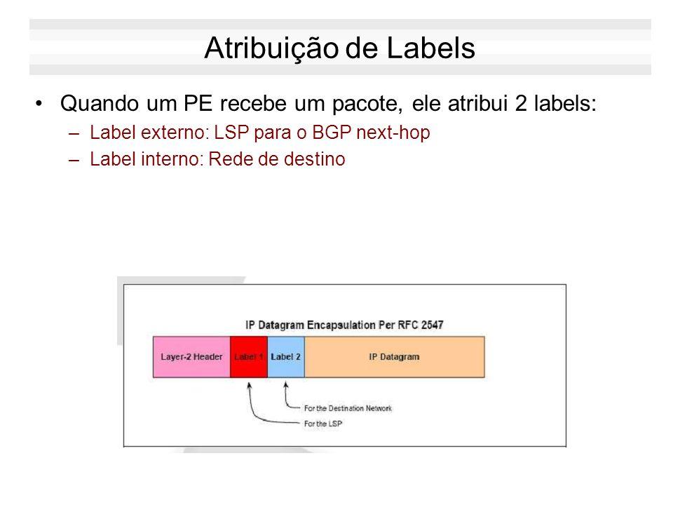Atribuição de Labels Quando um PE recebe um pacote, ele atribui 2 labels: –Label externo: LSP para o BGP next-hop –Label interno: Rede de destino