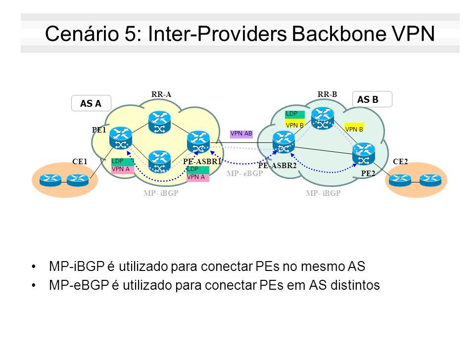 Cenário 5: Inter-Providers Backbone VPN MP-iBGP é utilizado para conectar PEs no mesmo AS MP-eBGP é utilizado para conectar PEs em AS distintos PE-ASB