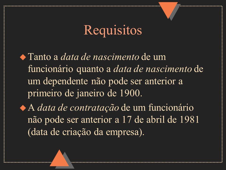 Requisitos u Tanto a data de nascimento de um funcionário quanto a data de nascimento de um dependente não pode ser anterior a primeiro de janeiro de