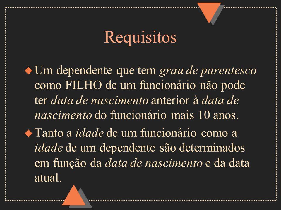 Requisitos u Um dependente que tem grau de parentesco como FILHO de um funcionário não pode ter data de nascimento anterior à data de nascimento do fu