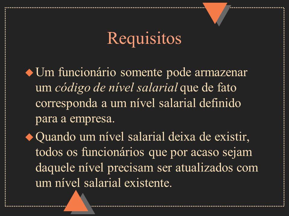 Requisitos u Um funcionário somente pode armazenar um código de nível salarial que de fato corresponda a um nível salarial definido para a empresa. u