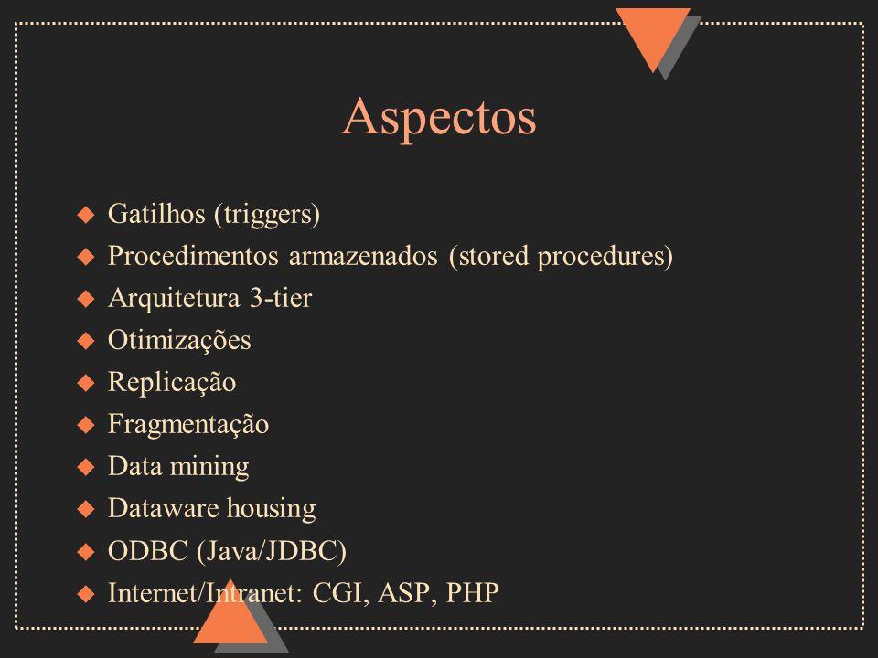 Aspectos u Gatilhos (triggers) u Procedimentos armazenados (stored procedures) u Arquitetura 3-tier u Otimizações u Replicação u Fragmentação u Data m
