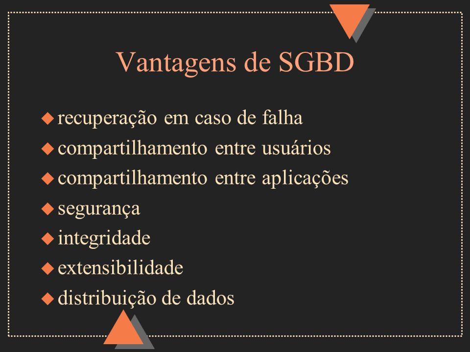 Vantagens de SGBD u recuperação em caso de falha u compartilhamento entre usuários u compartilhamento entre aplicações u segurança u integridade u ext