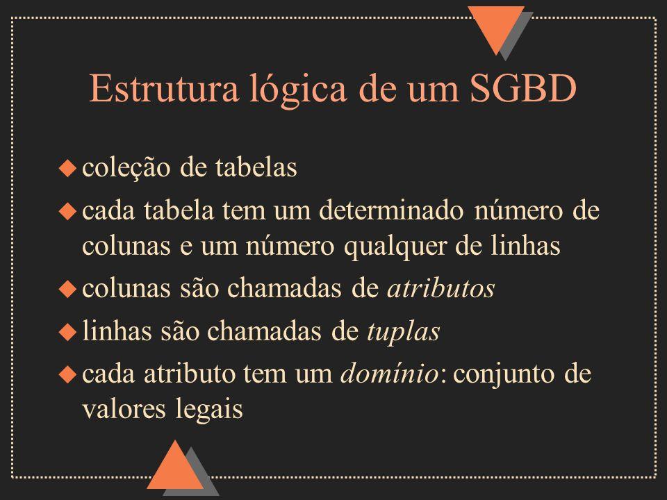 Estrutura lógica de um SGBD u coleção de tabelas u cada tabela tem um determinado número de colunas e um número qualquer de linhas u colunas são chama