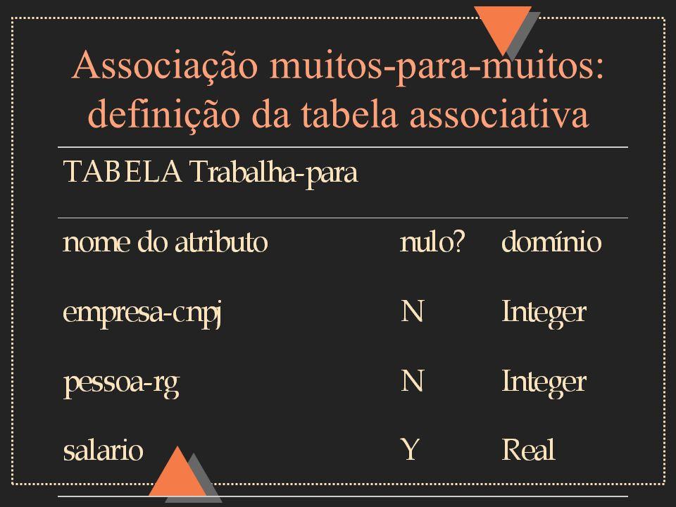 Associação muitos-para-muitos: definição da tabela associativa