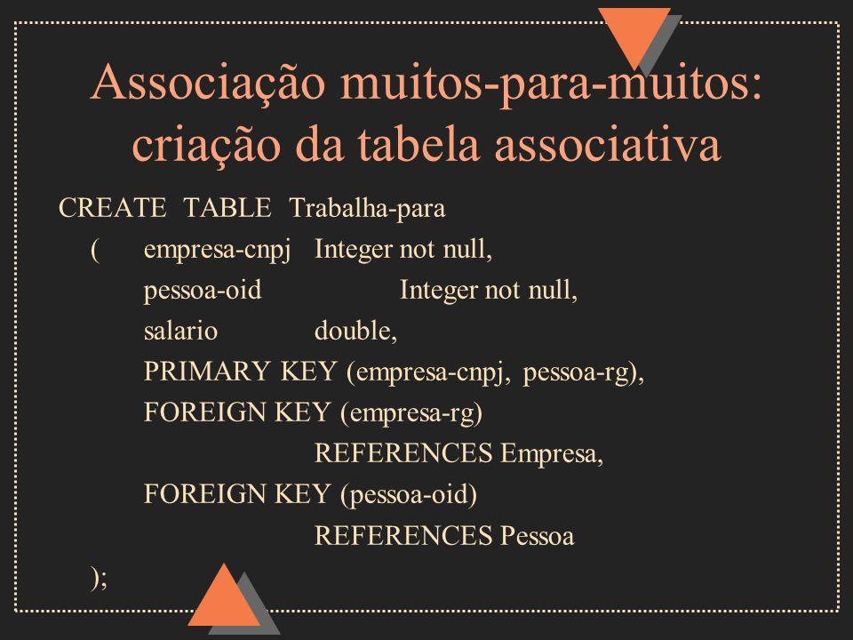Associação muitos-para-muitos: criação da tabela associativa CREATE TABLE Trabalha-para (empresa-cnpjIntegernot null, pessoa-oidIntegernot null, salar
