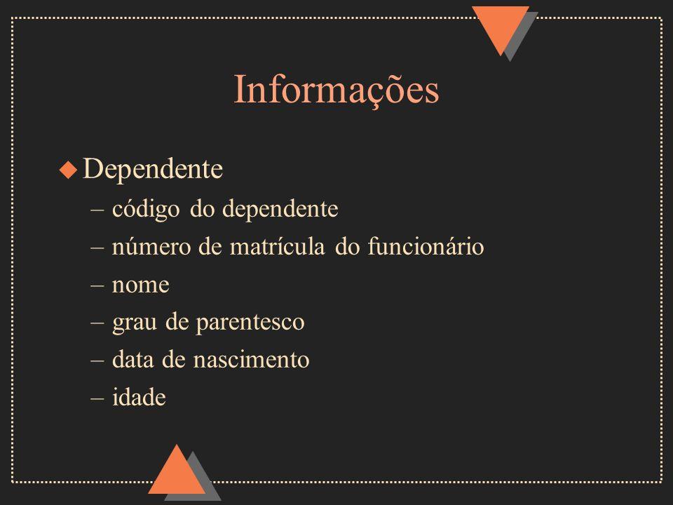 Informações u Dependente –código do dependente –número de matrícula do funcionário –nome –grau de parentesco –data de nascimento –idade