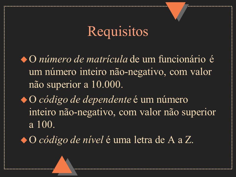 Requisitos u O número de matrícula de um funcionário é um número inteiro não-negativo, com valor não superior a 10.000. u O código de dependente é um