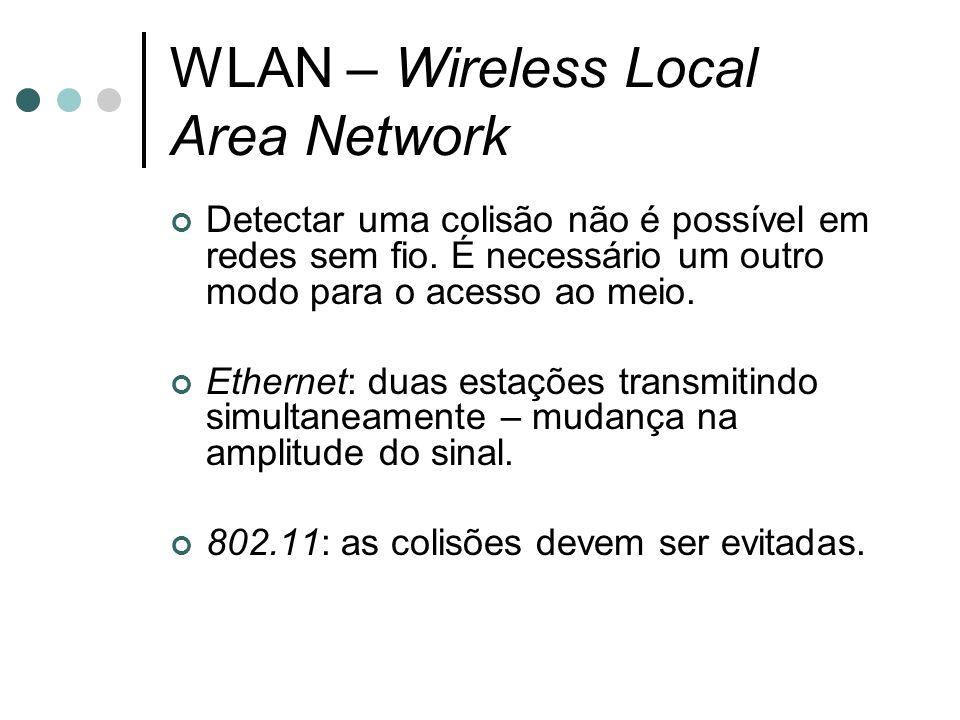 WLAN – Wireless Local Area Network Detectar uma colisão não é possível em redes sem fio. É necessário um outro modo para o acesso ao meio. Ethernet: d
