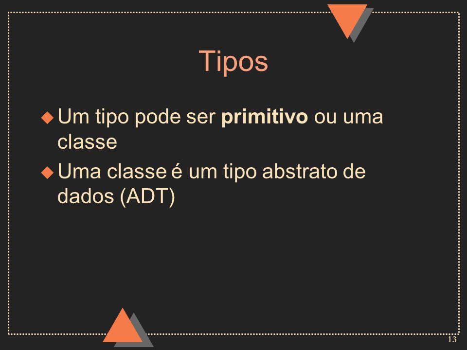 13 Tipos u Um tipo pode ser primitivo ou uma classe u Uma classe é um tipo abstrato de dados (ADT)