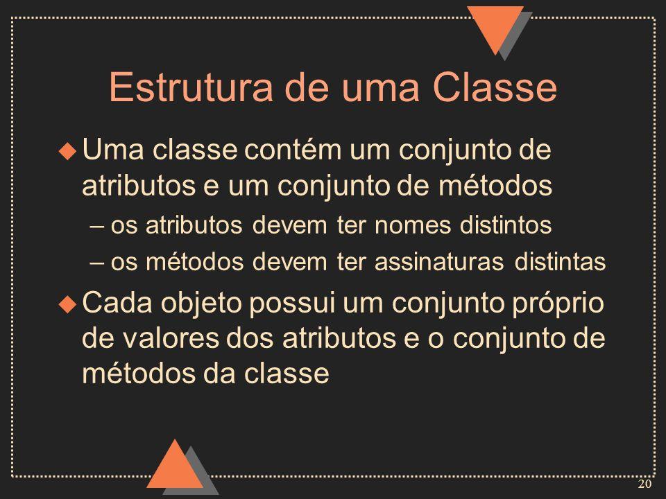 20 Estrutura de uma Classe u Uma classe contém um conjunto de atributos e um conjunto de métodos –os atributos devem ter nomes distintos –os métodos d