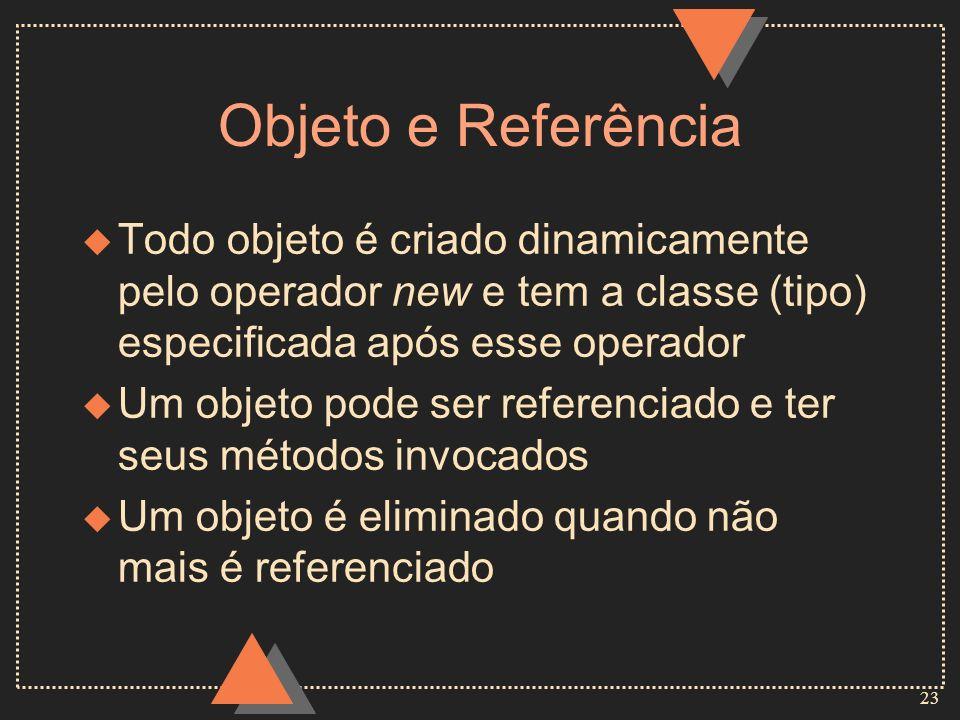 23 Objeto e Referência u Todo objeto é criado dinamicamente pelo operador new e tem a classe (tipo) especificada após esse operador u Um objeto pode s