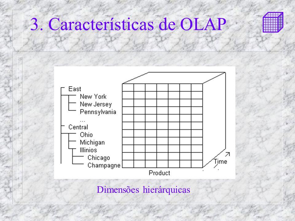 3. Características de OLAP Dimensões hierárquicas