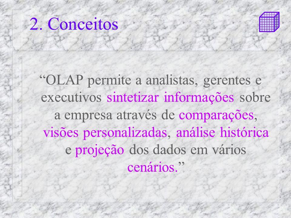 2. Conceitos OLAP permite a analistas, gerentes e executivos sintetizar informações sobre a empresa através de comparações, visões personalizadas, aná